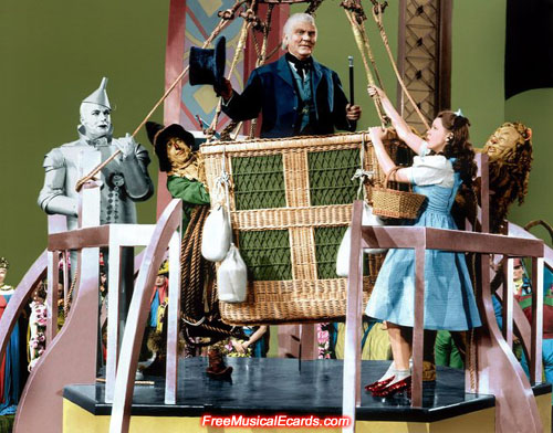 Publicity photo of Frank Morgan as the Wizard in a hot air balloon