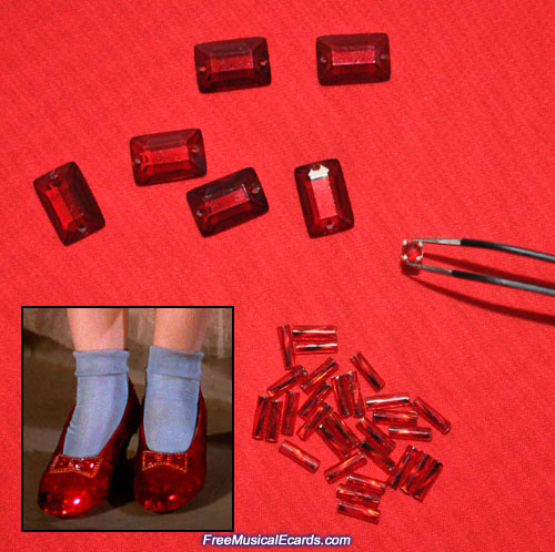 Vintage jewels on the bows of the original ruby slippers