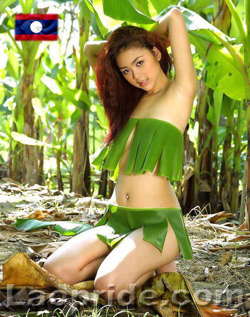 Young Lao girl posing in banana leaves