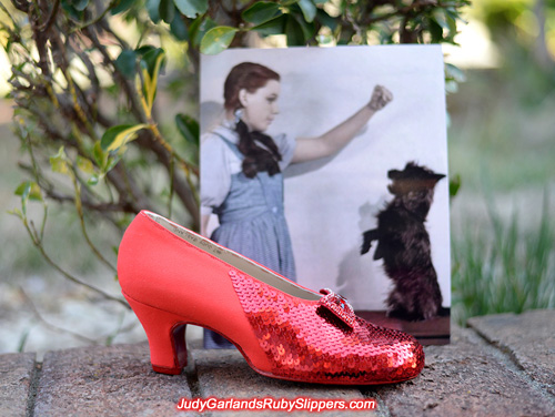 Beautiful sequining process on Judy Garland's ruby slippers