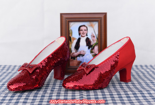 Beautiful sewing the sequins on Judy Garland's ruby slippers