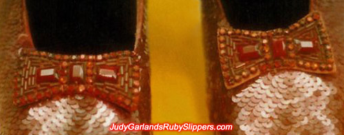 Bows on the original ruby slippers for comparison