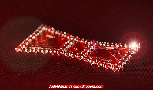 Close-up of the bow on Judy Garland's ruby slippers