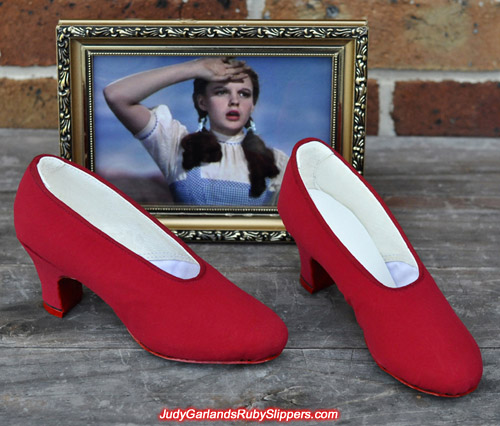 Custom made base shoes for Judy Garland's ruby slippers