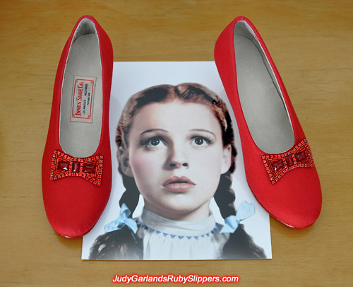 Custom-made size 5B base shoes for Judy Garland's ruby slippers
