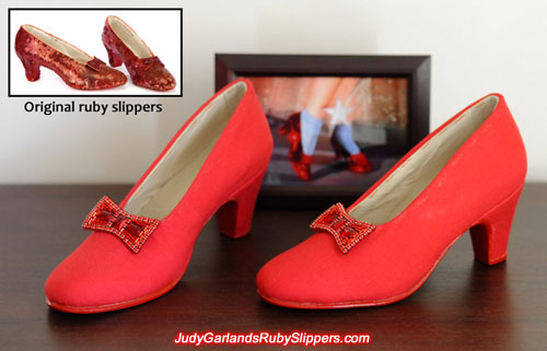 Fabric covered ruby slipper base shoes