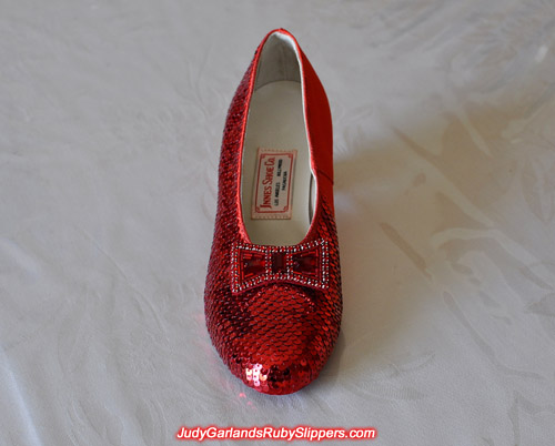 Front view of Judy Garland's ruby slippers