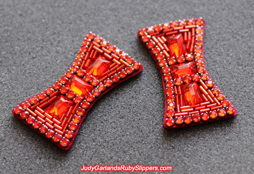 Hand-sewn bows near identical to the bows on the original ruby slippers