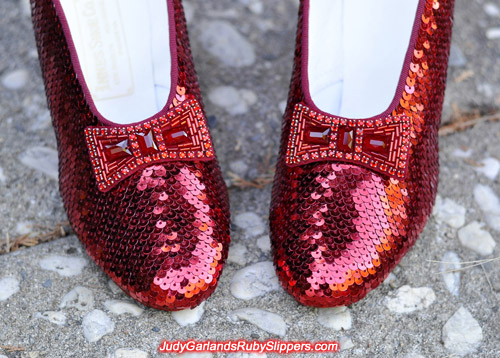 Hand-sewn replica ruby slippers