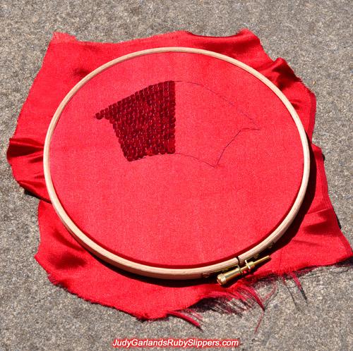 Heel overlay in an embroidery hoop