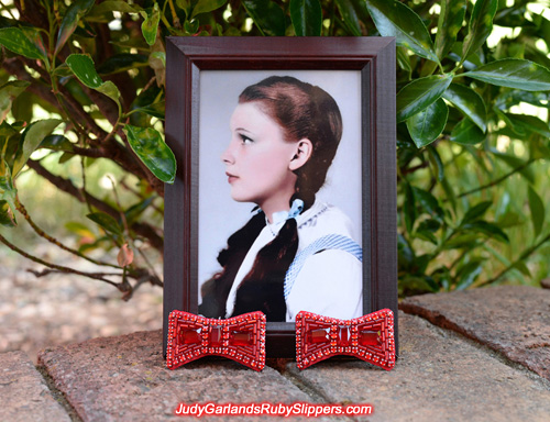 High quality bows set and ready for Judy Garland's ruby slippers