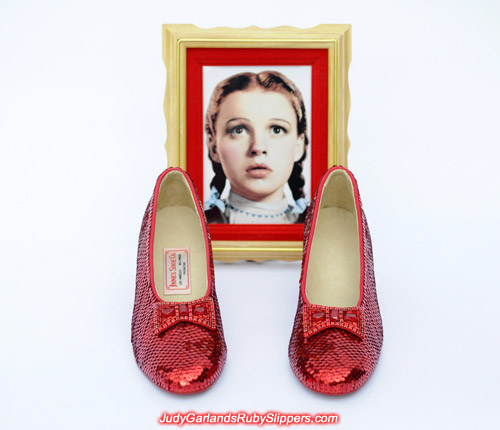 High quality hand-sewn pair of ruby slippers