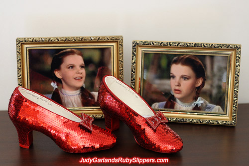 High quality pair of hand-sewn ruby slippers
