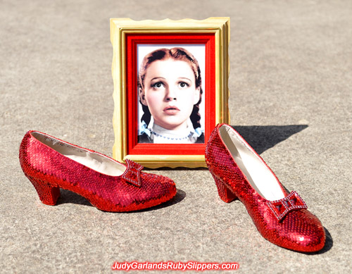 High quality reproduction of Judy Garland's ruby slippers