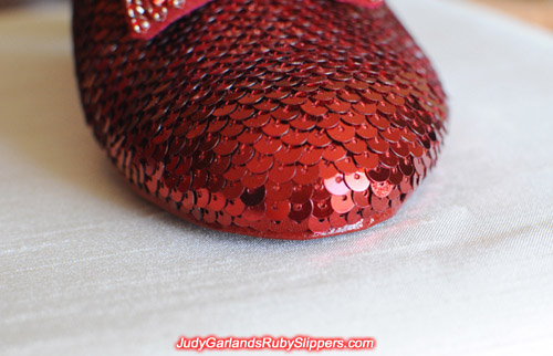 High quality ruby slippers in Judy Garland's shoe size 5B