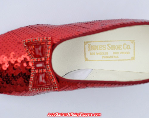Innes Shoe Company gold stamp on Judy Garland's ruby slippers