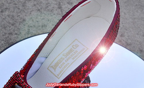 Innes shoe company label on Judy Garland's ruby slippers