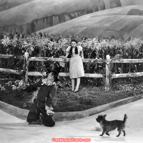 Judy Garland as Dorothy and Ray Bolger as the Scarecrow