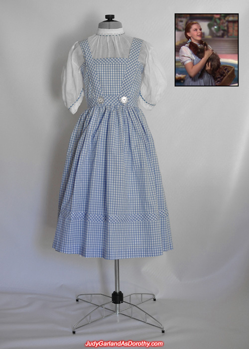 Judy Garland as Dorothy's blue-and-white cotton gingham pinafore dress and blouse