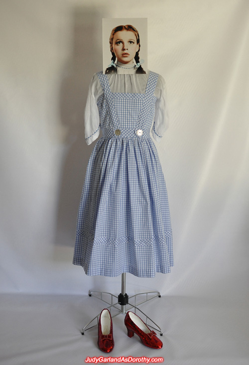 Judy Garland as Dorothy's dress and ruby slippers together