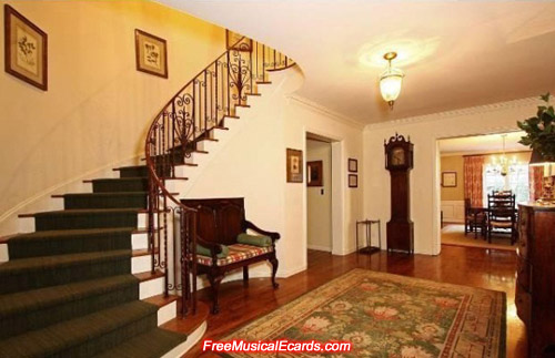 Grand staircase in Judy Garland's Bel Air home