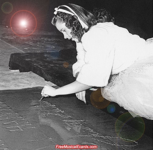 Judy Garland signing her name