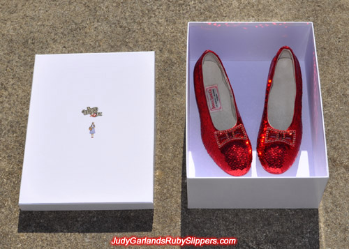 Judy Garland's ruby slippers in a box
