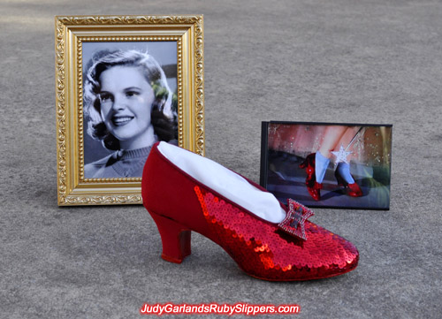 Judy Garland's ruby slippers in the construction stage