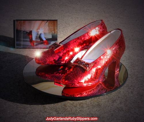 The magical ruby slippers worn by Judy Garland as Dorothy