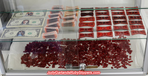 Materials for Judy Garland's ruby slippers