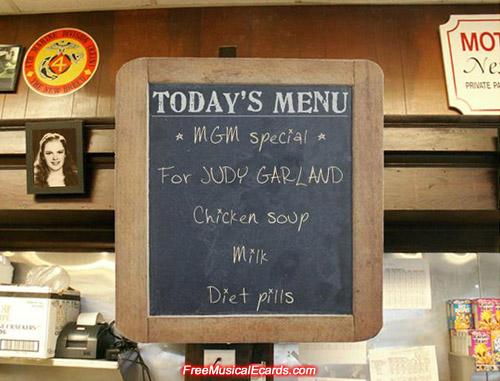 MGM special menu for Judy Garland