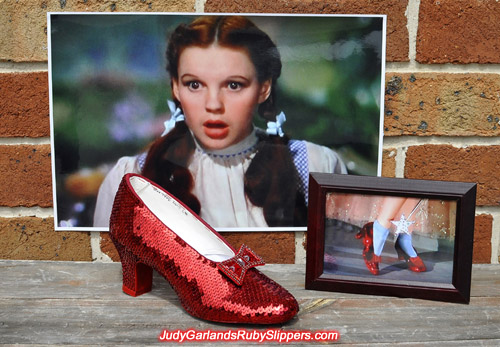 One shoe is done, one to go to complete Judy Garland's ruby slippers