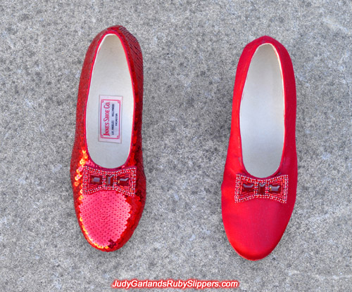 One shoe is sequined for Judy Garland's ruby slippers