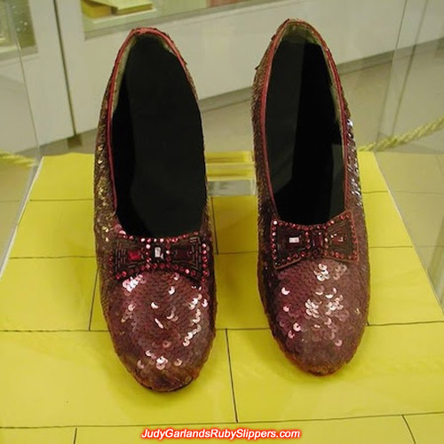 Original burgundy colored ruby slippers at the Judy Garland museum