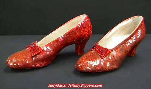 Original size 5B ruby slippers worn by Judy Garland as Dorothy