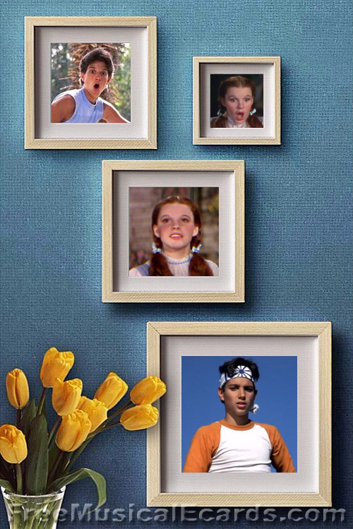 Photo frames of Ralph Macchio as Daniel LaRusso and Judy Garland as Dorothy