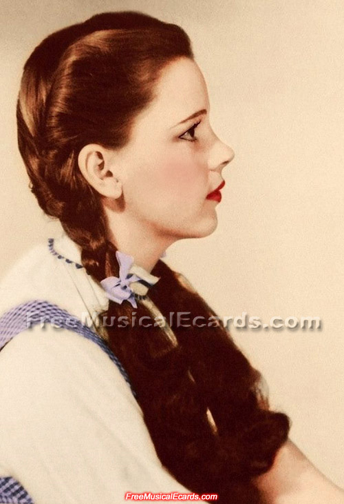 Rare side view color photo of Judy Garland as Dorothy