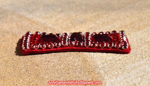 Replica bow on Judy Garland's ruby slippers