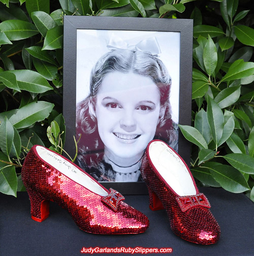 Replica of the ruby slippers as worn by Judy Garland as Dorothy