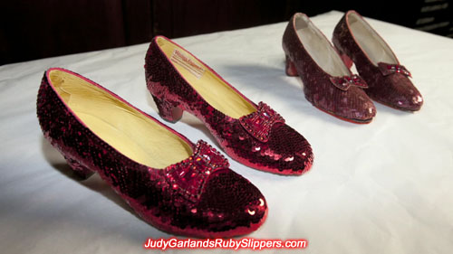 Replica ruby slippers and original ruby slippers from Western Costume Company
