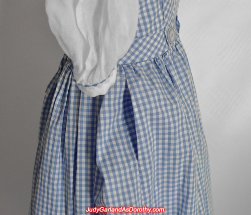 Right pocket on Judy Garland as Dorothy's dress