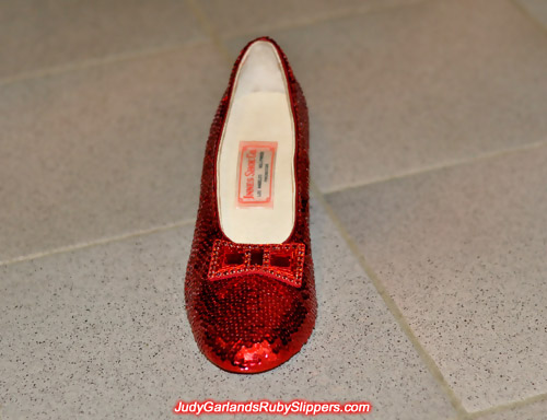 The right shoe of Judy Garland's ruby slippers