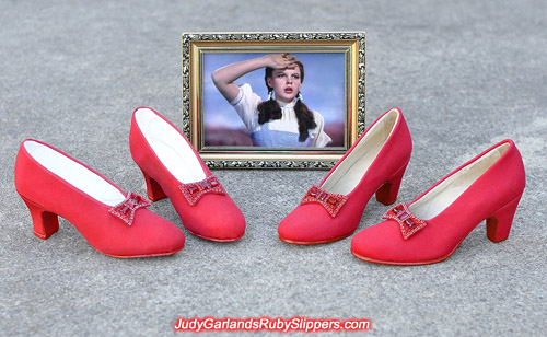 Ruby slipper bows on two pairs of base shoes