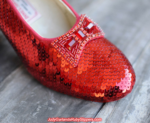 Sequining is underway with Judy Garland's ruby slippers