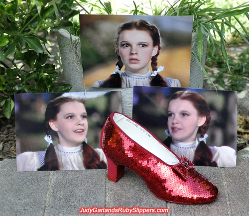 Sequining Judy Garland's ruby slippers