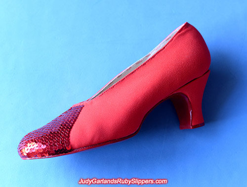 Sequining the ruby slippers is difficult and time-consuming