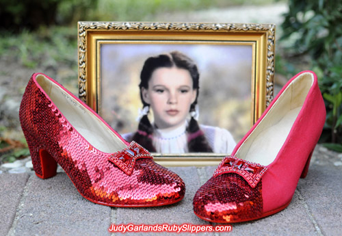 Sewing, sewing and more sewing on Judy Garland's ruby slippers