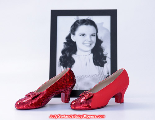 Stitching work has commenced on the left shoe of Judy Garland's ruby slippers