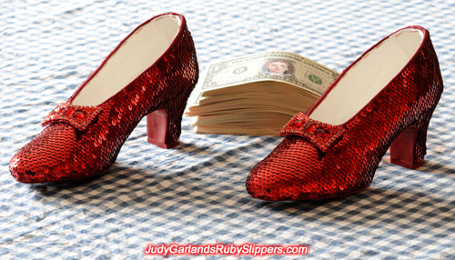 Stunning pair of replica ruby slippers inspired by those worn by Judy Garland as Dorothy