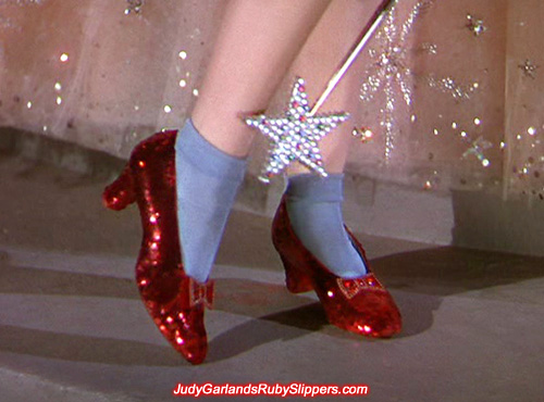 The original ruby slippers worn by Judy Garland as Dorothy